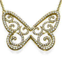Load image into Gallery viewer, 1.58 TCW 14K Yellow Gold Diamond Butterfly Pendant