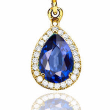 "Load image into Gallery viewer, 2 Carat 14K White Gold Blue Sapphire & Diamonds ""Francie"" Earrings"