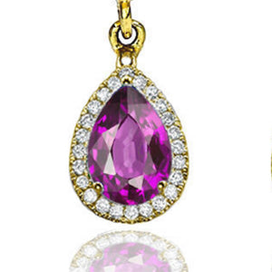 "2 Carat 14K Yellow Gold Amethyst & Diamonds ""Francie"" Earrings"