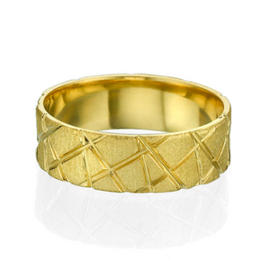 14K Yellow Gold X Style Cross Pattern Wedding Band