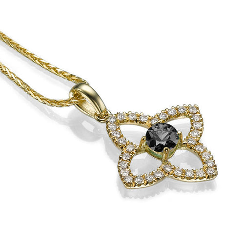 1.25 TCW 14K Yellow Gold Black Diamond Flower Pendant