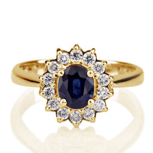 "Load image into Gallery viewer, 1.2 Carat 14K White Gold Blue Sapphire & Diamonds ""Yvette"" Engagement Ring"