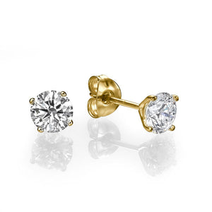 "1 Carat 14K Yellow Gold Diamond ""Una"" Earrings 