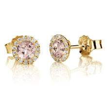 "Load image into Gallery viewer, 1 Carat 14K Yellow Gold Morganite & Diamonds ""Leanne"" Earrings"