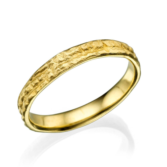 3.5MM 14K Yellow Gold Simple Vintage Men Wedding Band