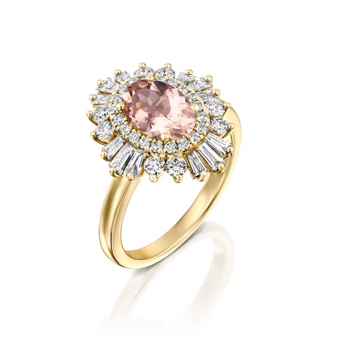1.75 Carat 14K Yellow Gold Oval Morganite & Diamonds