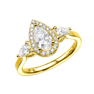 1.7 Carat 14K Yellow Gold Moissanite & Diamonds