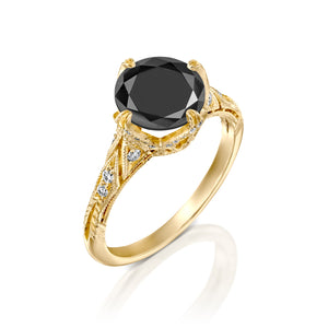 4.2 Carat 14K Yellow Gold Black Diamond