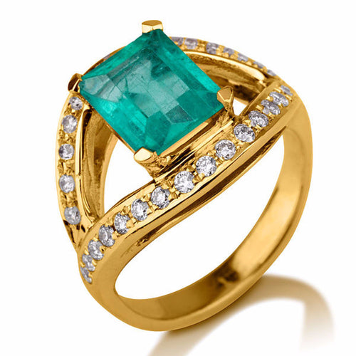 2.5 Carat 14K Rose Gold Emerald & Diamonds