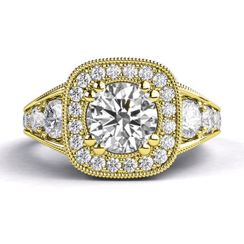 1.8 Carart 14K Yellow Gold Moissanite & Diamonds