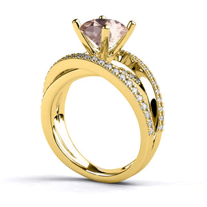 "2.9 Carat 14K White Gold Morganite & Diamonds ""Victoria"" Engagement Ring"