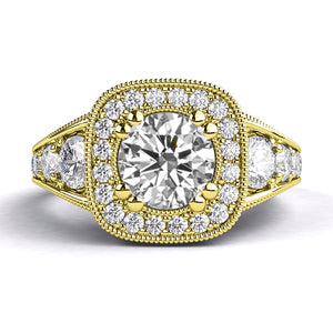 "2.3 Carat 14K Yellow Gold Diamond ""Elizabeth"" Engagement Ring"