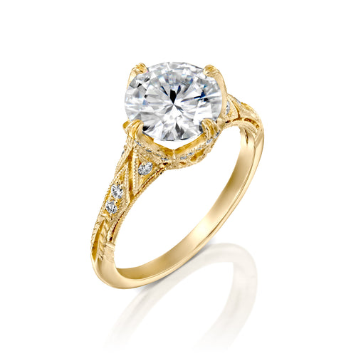 2.1 Carat 14K Yellow Gold Moissanite & Diamonds