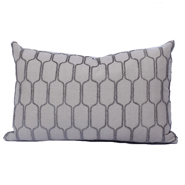 "Stone Grey Raised Octagon Pattern Pillow (22"" x 14"")"