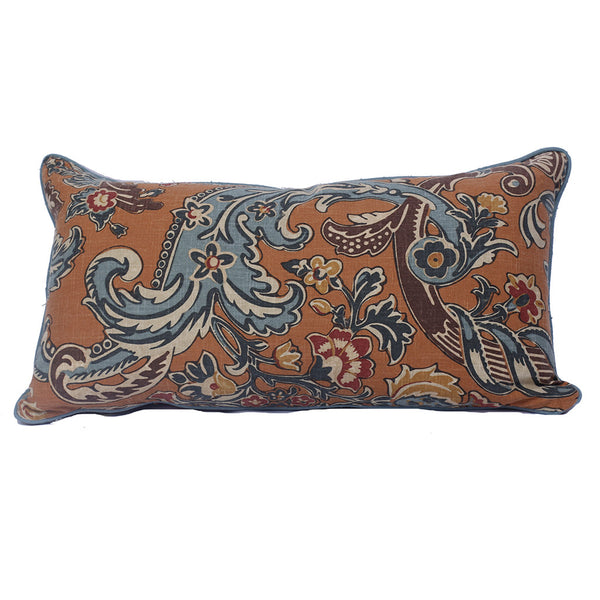 "Printed Lumbar Pillow with Contrasting Welt (24"" x 16"")"