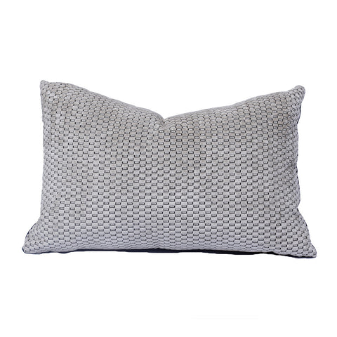 "Graphic Ivory and Black Chenille Pillow (22"" x 14"")"