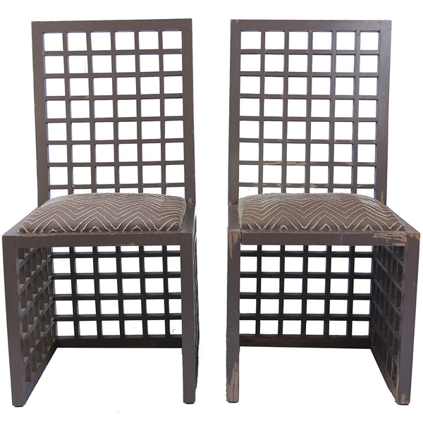 Vintage Geometric Wooden Chairs with Upholstered Seats- A Pair