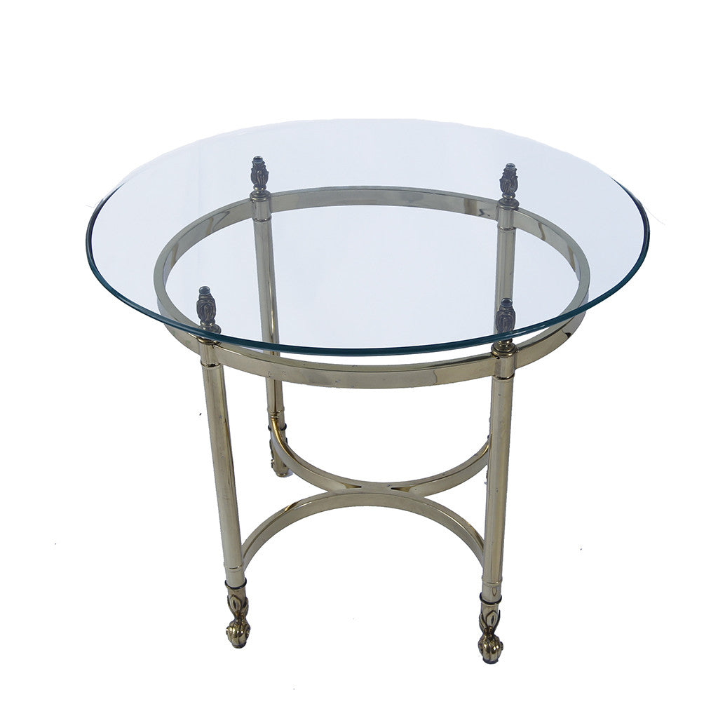 Vintage Hollywood Regency Labarge Brass and Ogee Edge Oval Glass Top Table
