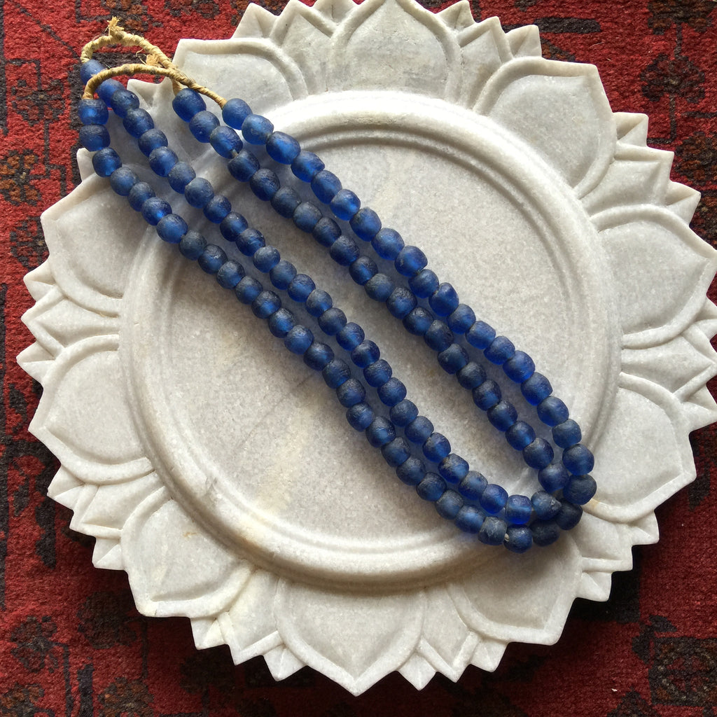 African Glass Bead Necklace:  Sapphire Blue