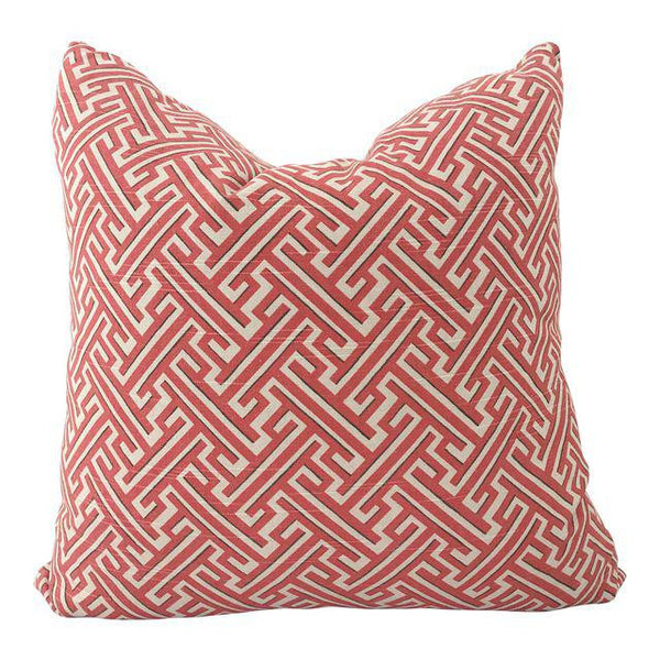 "Brick Red Greek Key Pillow 20""x20"""