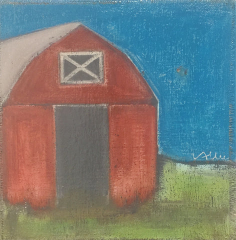 "Cecel Allee 24""x24"" Barn Painting on Wood Panel"