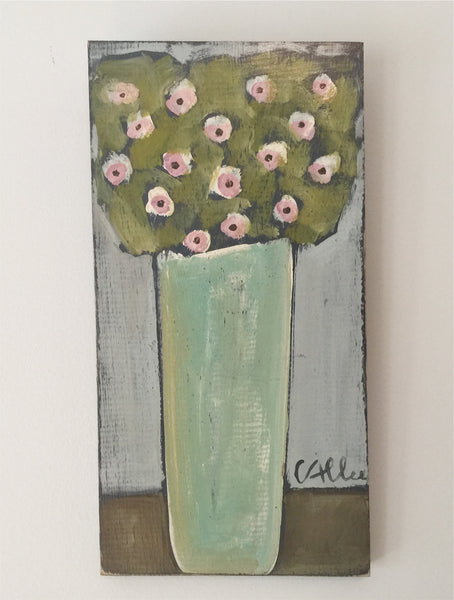 "Cecel Allee 6.0""x14.0""x1.0"" Petite Floral Painting on Wood Panel"