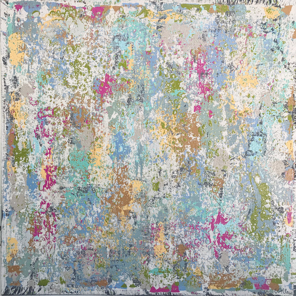 "Cecel Allee 48""x48"" Multicolor Abstract Painting on Wood Panel"