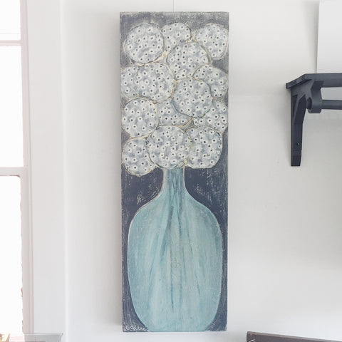 "Cecel Allee Floral on Wood Panel 16""x48"""
