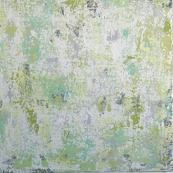"Cecel Allee 48""x48"" Green Abstract Painting on Wood Panel"