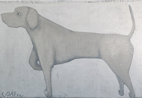 "Cecel Allee 48"" x 30"" Dog Painting on Wood Panel"
