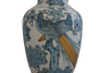 Vintage Asian Chinoiserie Blue Peacock Lamp