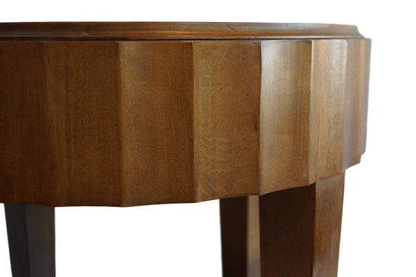Bma At Home Round Vintage Side Table With Scalloped Edge