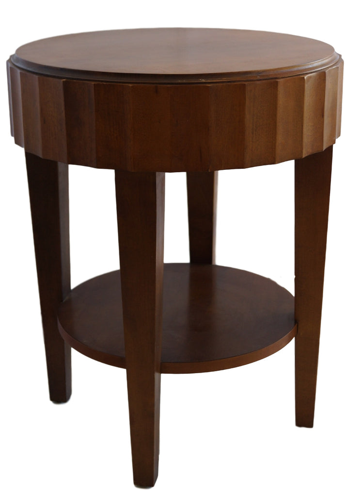Round Vintage Side Table with Scalloped Edge