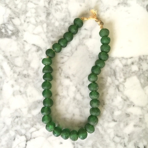 African Glass Bead Necklace: Emerald