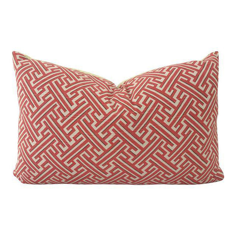 "Brick Red Greek Key Pillow 22""x14"""