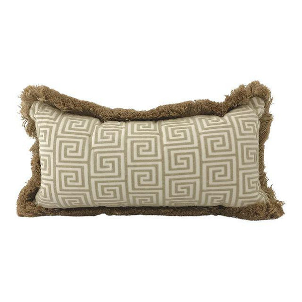 "Greek Key Tone on Tone Lumbar Pillow with Jute Welt 25""x13"" 90/10 Down"
