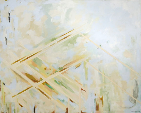 "Abstract Mixed Medium Painting on Canvas by Hannah Betzel (48""x60"") ""Castle in the Sky"""
