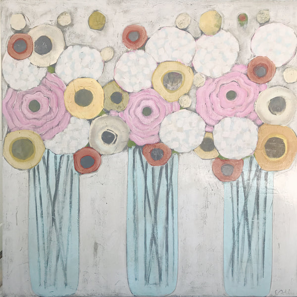 "Cecel Allee 48""x48"" Floral Painting on Wood Panel"