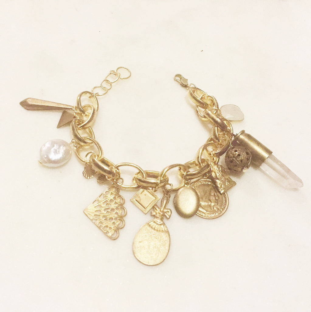 Antique Brass Charm Bracelet with 14k gold Moonstone and Freshwater Pearl by Great Dame