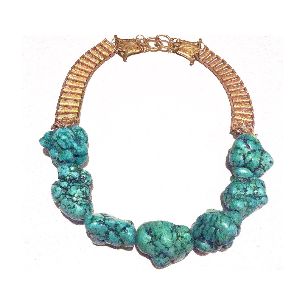 Antique Brass and Turquoise Chunk Collar Necklace by Great Dame