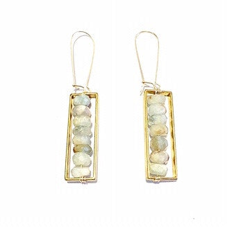 Antique Brass and Aquamarine Earrings by Great Dame