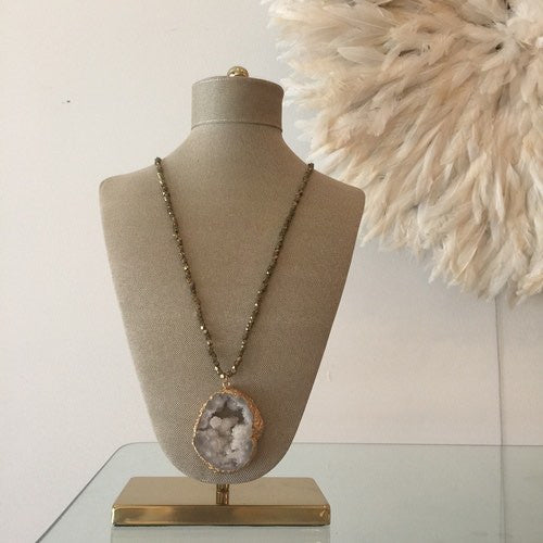 Large Gray Agate Pendant with Beaded Pyrite Chain by Joey B