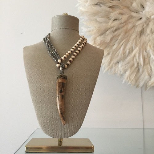 Brown Horn Necklace with Beaded Pyrite and Bone Chain by Joey B