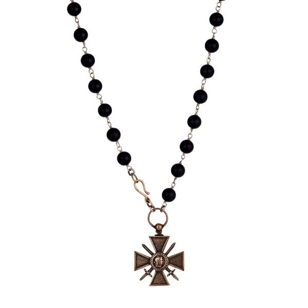 Shannon Koszyk St. Croix Necklace with Black Onyx, Sterling, Bronze, and Brass
