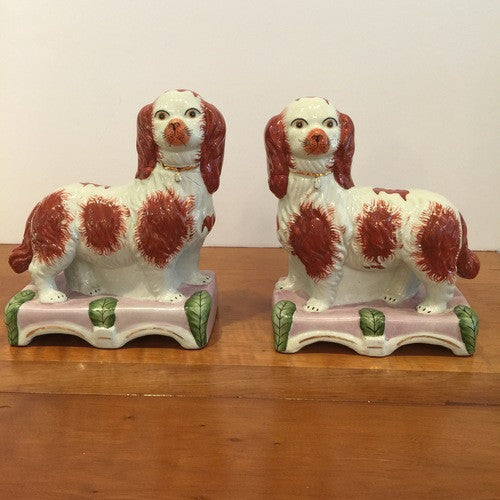 "Pair of Antique Staffordshire Spaniel Dogs: ""Grace and Majesty"""