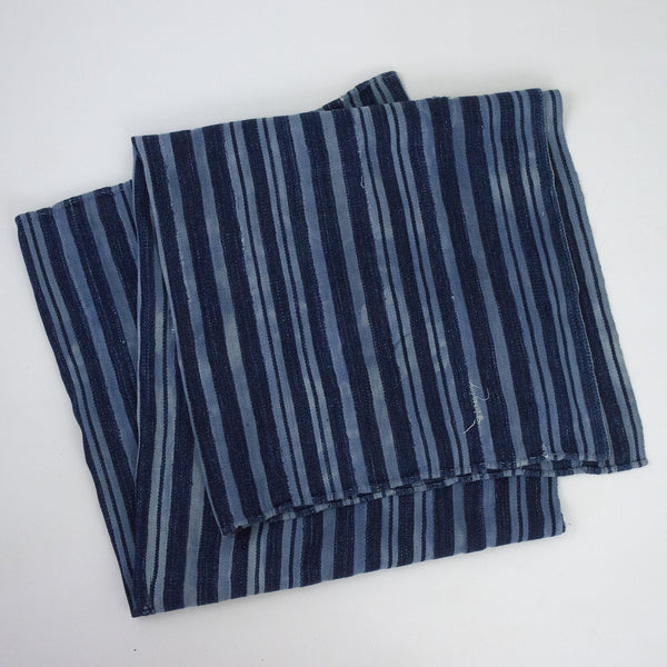 Vintage African Indigo Striped Throw