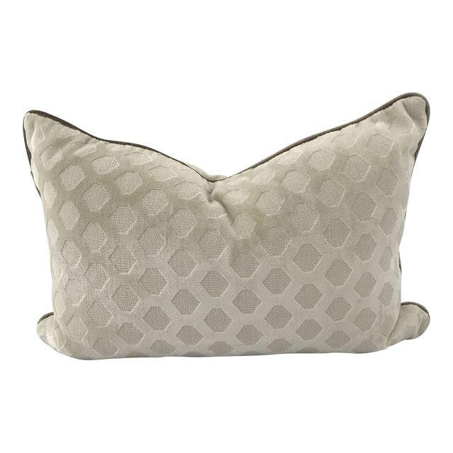 "Tone-on-Tone Hexagonal Velvet Pillow with Contrast Velvet Welt (16"" x 24"")"