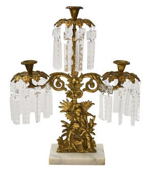 19th-Century Victorian Marble, Brass, and Crystal Girandole
