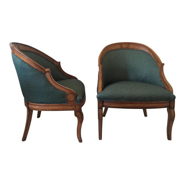 Pair of Vintage French Chairs with Clay McLaurin Textile
