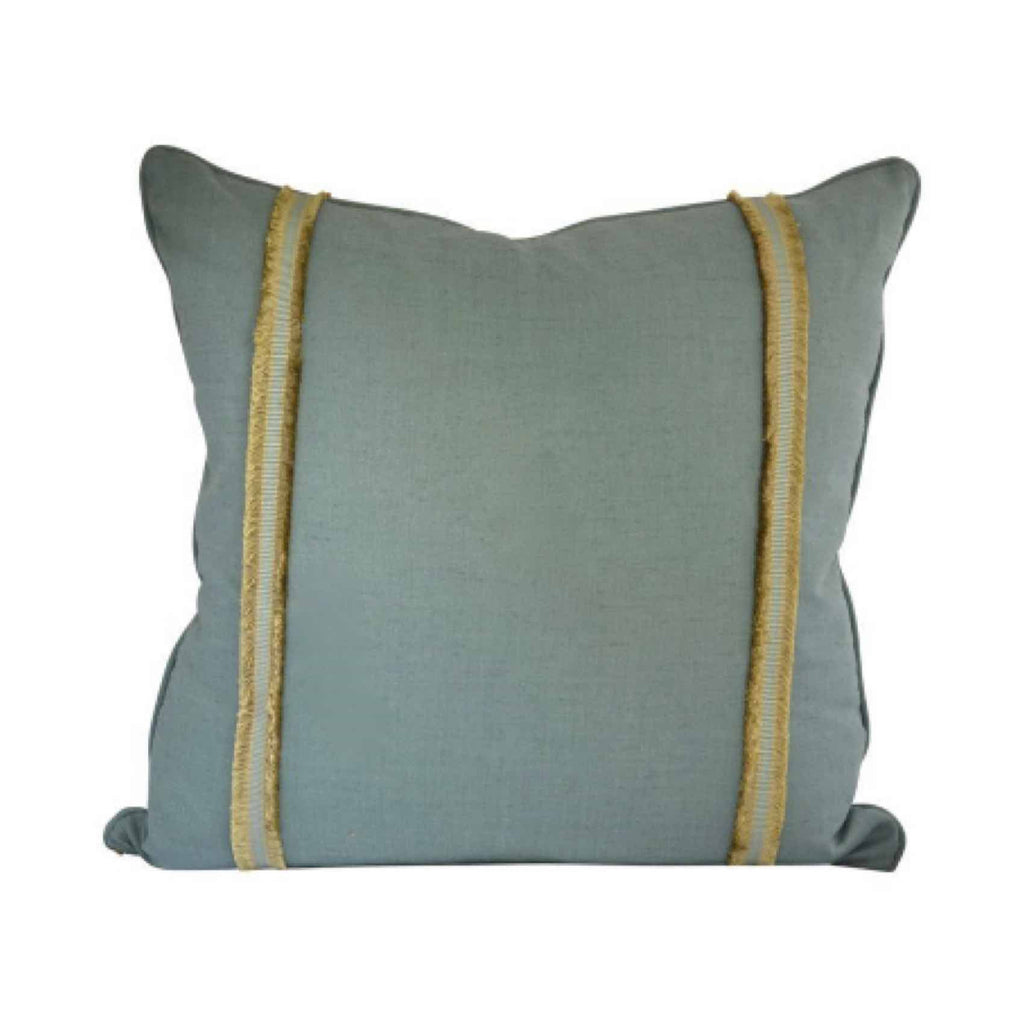 "Cerulean Cotton and Silk Pillow with Accent Tape (26"" x 26"")"